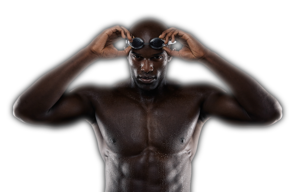 Swimmer putting on goggles
